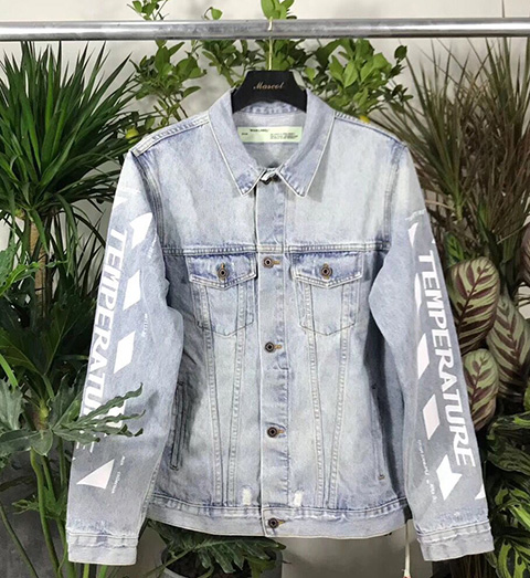 Off White Temperature Denim Caban Jacket For Sale