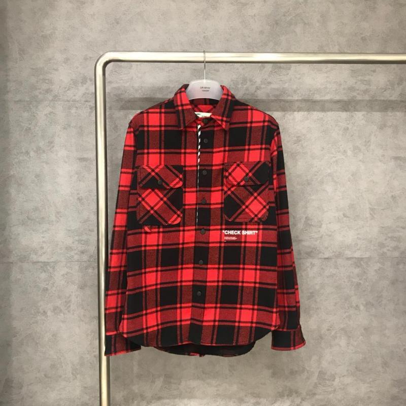 Off White 18FW Red Grid Check Shirt High Quality OW Sale