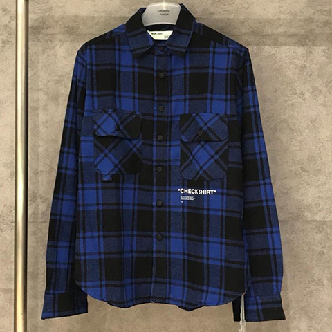 Off White 18FW Blue Grid Check Shirt High Quality OW Sale