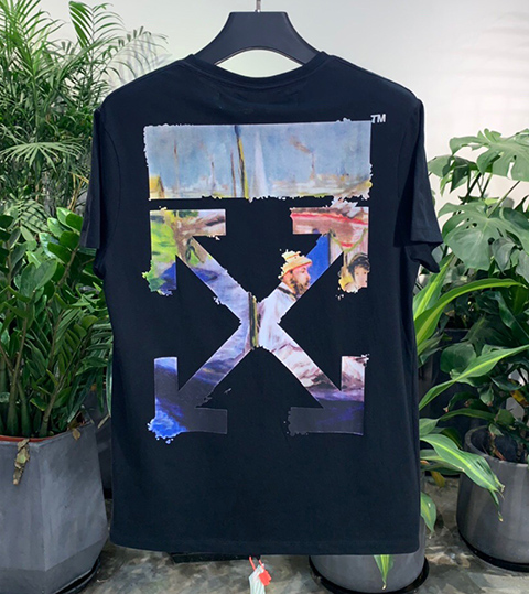 Off White 19SS Black Multicolor Arrows Oil Print Short Sleeve T-shirt High Quality