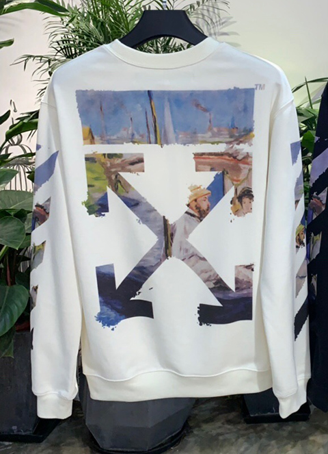Off White 19SS White Multicolor Arrows Oil Print Long Sleeves Sweatshirt High Quality
