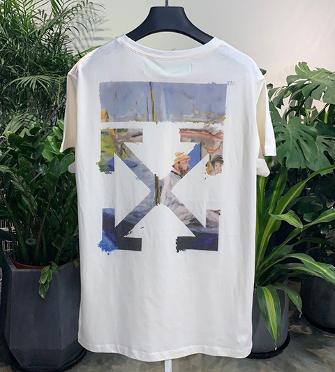 Off White 19SS White Multicolor Arrows Oil Print Short Sleeve T-shirt High Quality