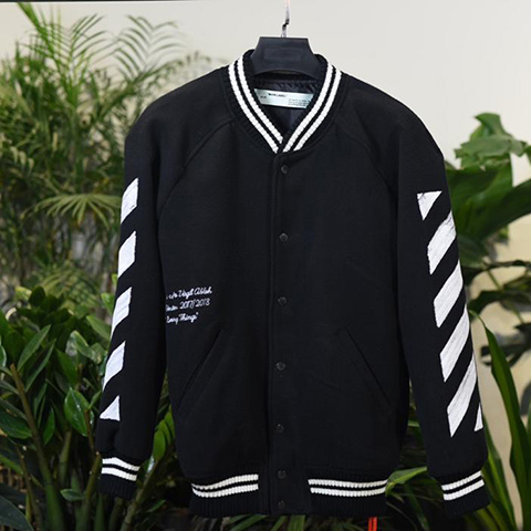 Off White 17FW Wool-Blend Varsity Jacket Released
