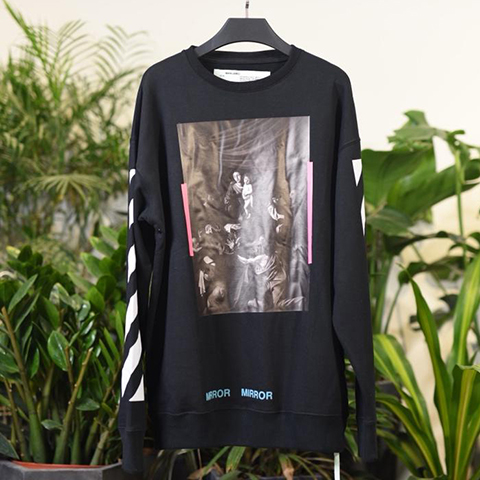 Off White 17SS Black Caravaggio Diagonal Mirror Sweatshirt Released