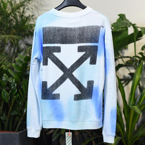 Off White 18FW Diamond-encrusted Black Arrows Long Sleeves Sweatshirt Released