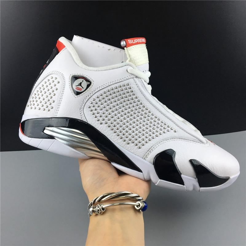 Supre- x Air Jordan 14 White University Red Online Sale