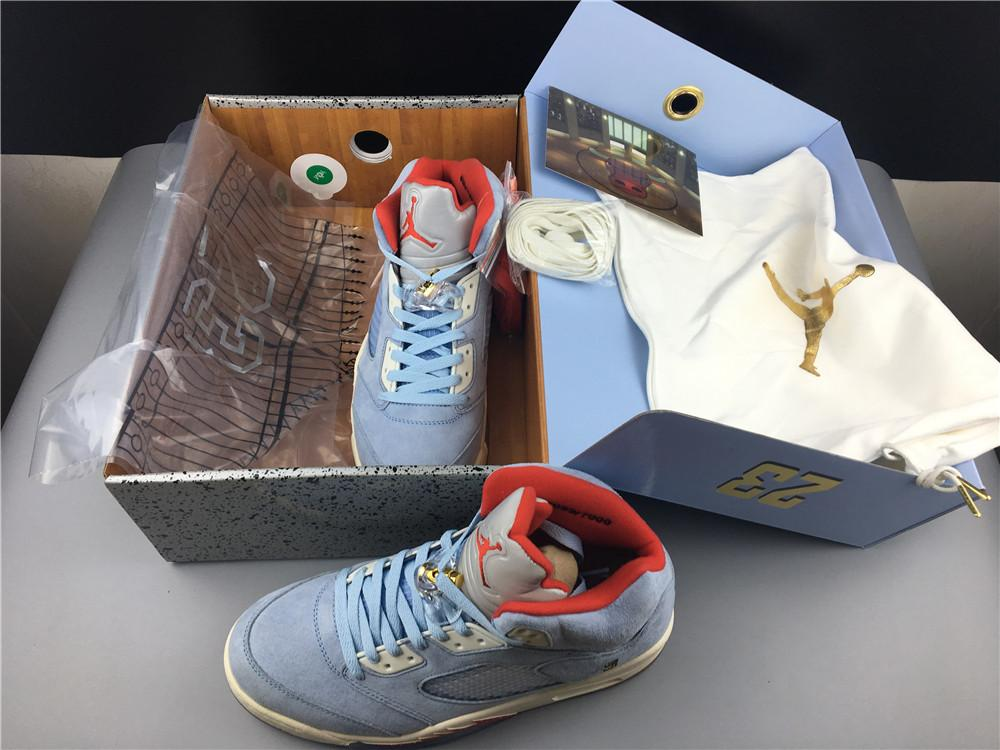 Trophy Room x Air Jordan 5 Ice Blue High Quality Released