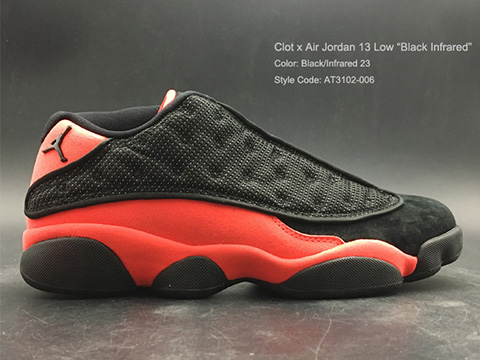 Clot x Air Jordan 13 Low Black Infrared Online Sale