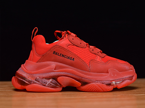 Balenciaga Triple S Clear Sole Trainers Red Color Released