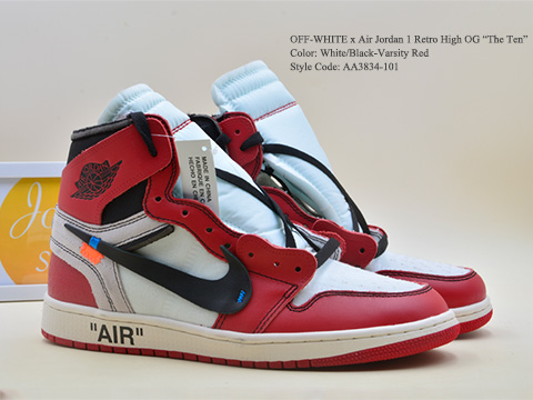 OFF WHITE Air Jordan 1 Chicago Retro High OG The Ten AA3834-101 Released